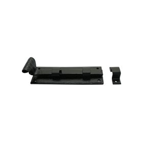 From The Anvil 33015 - Black Straight Door Bolt 6 inch - Inward Opening