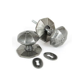 From The Anvil 33066 - Pewter Patina Large Octagonal Mortice Rim Knob Set