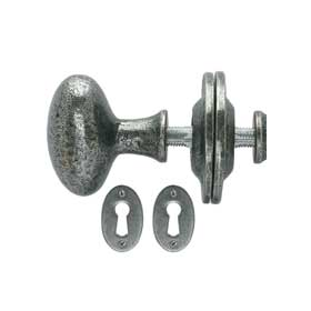 From The Anvil 33644 - Pewter Patina Oval Mortice Rim Knob Set