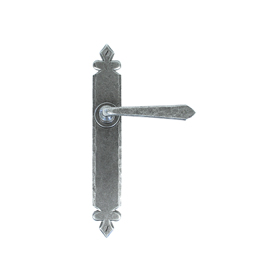 From The Anvil 33731 - Pewter Patina Cromwell Sprung Door Lever on Latch Backplate