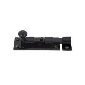 From The Anvil 33982 - Black Straight Knob Bolt 4 inch - Inward opening