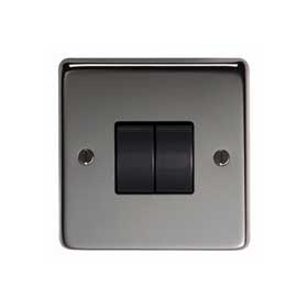 From The Anvil 34201 - Black Nickel 10 Amp Two Way Double Switch