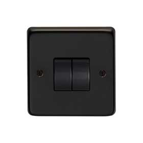 From The Anvil 34201/2 - Matt Black 10 Amp Two Way Double Switch
