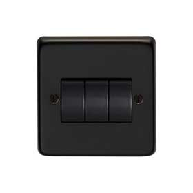 From The Anvil 34202/2 - Matt Black 10 Amp Two Way Triple Switch