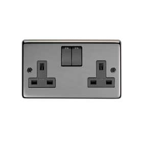 From The Anvil 34224 - Black Nickel 13 Amp DP Double Switched Socket