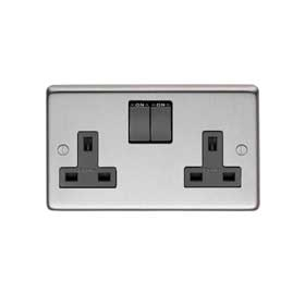 From The Anvil 34224/1 - Satin Stainless 13 Amp DP Double Switched Socket