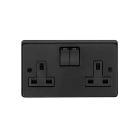 From The Anvil 34224/2 - Matt Black 13 Amp DP Double Switched Socket