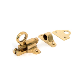 From The Anvil 90267 - Polished Brass Fanlight Catch + Two Keeps