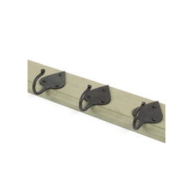 From The Anvil 83747 - Cottage Coat Rack - Beeswax/Olive Green Timber