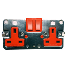 Wandsworth A354/D/R/R - 2-Gang 13 Amp Switched Socket Interior/Red Rockers/Red Trim