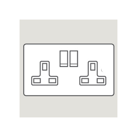 Wandsworth P924 - Infinity Double Switched 3-Pin Socket Outlet Cover Plate Only
