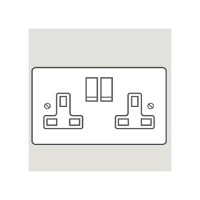 Wandsworth P354 - Classic Double Switched 3-Pin Socket Outlet Cover Plate Only