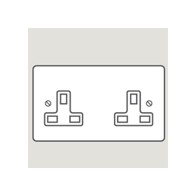 Wandsworth P350 - Classic Double Unswitched 3-Pin Socket Outlet Cover Plate Only