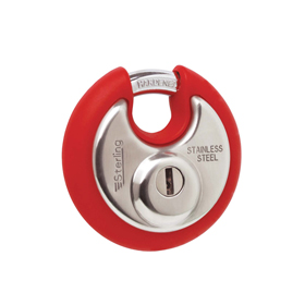Sterling Locks SPL100P/Red - Stainless Steel Disk Padlock 70mm - Red Bumper