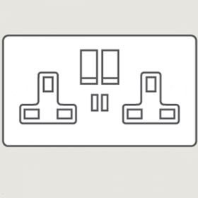 Wandsworth P9157 - Infinity Double Switched 3-Pin Socket Outlet with USB Charger Cover Plate Only