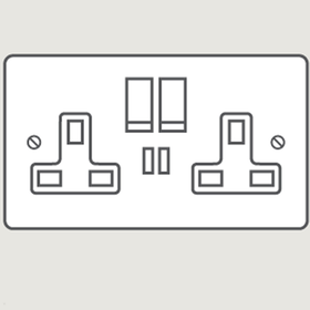 Wandsworth P3157 - Classic Double Switched 3-Pin Socket Outlet with USB Charger Cover Plate Only